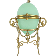 "Palais Royal Green Opaline Egg Casket Hinged Box ""EXQUISITE ORMOLU & DRAPING CHAINS"""