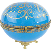 """Antique French Blue Opaline Casket Hinged Box """"BIG & PAW FOOTED BASE"""""""