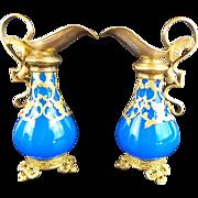 "PAIR Antique French Blue Scent Ewers ""EXQUISITE PALAIS ROYAL TREASURES"""