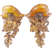 """Victorian Black Forest Style Carved Wood Wall Brackets """" EXQUISITE PAIR"""""""