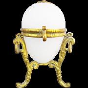 Napoleon III White Opaline Egg Shaped Hinge Box