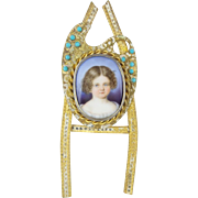 "REDUCED Antique French Miniature Porcelain ""LITTLE GIRL"" Jeweled Table Frame"