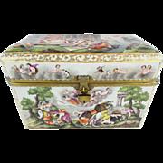 "Grandest 9 ½"" Antique Capodimonte Casket Hinged Box THE BEST! PUTTI, DOGS, HORSES,BOAR,BIRD"