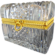 """Antique French Cut Crystal Dome Top Casket Hinged Box """"WREATH & BOW CLASP"""""""