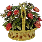"REDUCED Jane Hutcheson Jeweled Strawberry Basket ""RARE SMALL SIZE"""