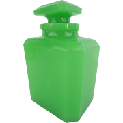 """BIG  Antique Green Opaline Scent Bottle """"EXQUISITE"""" AWESOME GREEN"""
