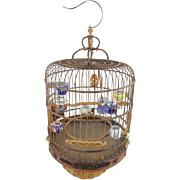 """SOLD Antique Chinese Bird Cage """"8 PORCELAIN FEEDER/WATER""""  BEAUTIFUL CARVING"""