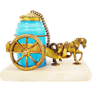 REDUCED Palais Royal Opaline Inkwell Horse Cart.