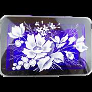 "Antique Bohemian Cobalt Casket Hinged Box "" GRANDEST WHITE FLOWERS"""