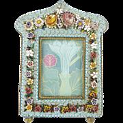 "Antique Italian Micromosaic Frame "" RARE SHAPE"""