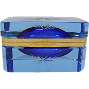 SALE Italian Murano Blue Crystal Hinged Box