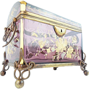 """7"""" Antique Moser Amethyst  Dome Top Casket Hinged Box """"GRANDEST SIZE & COLOR...IT IS"""