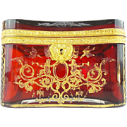 "SALE BIG Antique Bohemian RUBY Casket Hinged Box ""RARE SHAPE & DEEP RICH RUBY"""