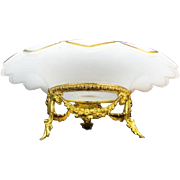 "12 ½"" Antique French White Opaline Center Bowl ""GRANDEST GILT ORMOLU"""