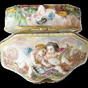 """Antique Capodimonte Hinged Box """"PUTTI'S & MORE PUTTI'S"""""""