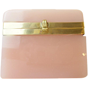 "REDUCED Antique Pink Opaline Casket Hinged Box ""BIG PINK OPALINE"""