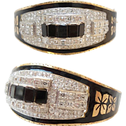 SALE BLACK ENAMEL DIAMOND  BRACELET