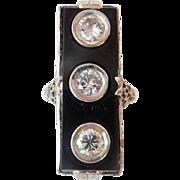 "SALE 14KARAT DIAMOND &  BLACK ONYX RING   ""FABULOUS ELONGATED ONYX w DIAMONDS"""