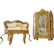 SOLD Vintage Doll House Miniature Settee and Cabinet
