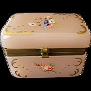Antique Pink Opaline Casket Hinged Box