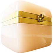 """REDUCED Antique French Pink Opaline Casket Hinged Box """"BEAUTIFUL PINK OPALINE"""""""