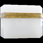"Antique French White Opaline Casket Hinged Box ""BEAUTIFUL SHAPE,SIZE, & MOUNTS"""