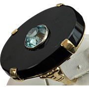 "Black Onyx and Blue Zircon 14kARAT Ring ""BEAUTIFUL"""