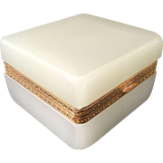 Magnificent Antique White Opaline Casket Hinged Box