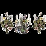 SALE Vintage Italian Floral-enameled Ceiling Candelabra & Match Sconces