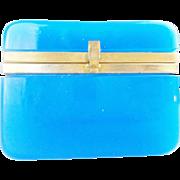 Antique Blue Opaline Casket Hinged Box