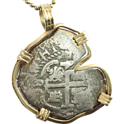 "REDUCED Antique Atocha Spanish Reale Silver Coin Pendant ""14KARAT YELLOW GOLD BEZEL"""