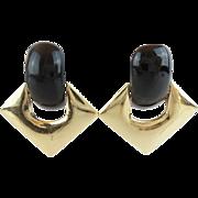"Black Onyx 14KARAT Earrings  ""QUALITY & COMFORT BACKS"""