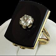"Vintage Black ONYX &  DIAMOND 14KARAT RING ""STUNNING"""