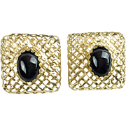 """SALE Very Fine 14KARAT and Onyx Earrings """"EXQUISITE"""""""