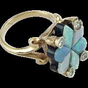 14KARAT  Yellow Gold Custom Cut Opal Doublet & Diamond Ring