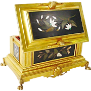 "Grandest French Gilt Bronze Pietra Dura Casket Hinged Box "" FIVE MAGNIFICENT PLAQUES"""