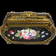 """1850 Julien-Nicolas Rivet Porcelain Marquetry Bronze Casket Hinged Box """"PAINTED PORCELAIN"""