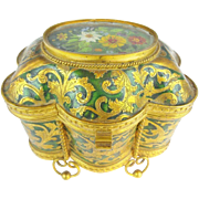 """Antique French Tahan Enamel Casket Hinged Box """"HAND PAINTED PLAQUE"""""""