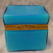 SOLD Beautiful Italian Murano Blue Hinged Box Casket