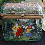SOLD Antique Bohemian Controlled Bubble Hinged Box