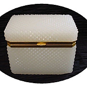 SOLD Antique French Diamond Cut White Opaline Jewelry Casket.