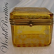 "SOLD Awesome Amber Spa Hinged Box  ""Rare Small Size"""