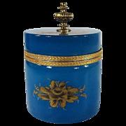 SALE Stunning Antique Blue Opaline Powder Jar