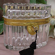 "SOLD Stunning Antique French Cut Crystal Casket ""OVAL"""