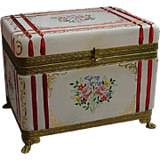 SALE GIANT French White Cut to Cranberry Paw Foot Jewelry Casket