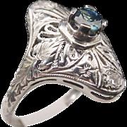 SALE Sapphire White Gold  Filigree Ring  18KARAT