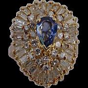 SALE Ballerina Cluster Diamond and Pear Shape Sapphire