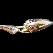 18KARAT  Diamond Ruby Hinged Dolphin Choker Necklace