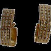 14 KARAT Yellow Gold Diamond Channel Set J-Hoop Earrings