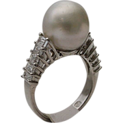 SALE 18KARAT  South Sea Pearl and Diamond Ring
